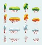 Grupo de árvores do vetor Fotos de Stock