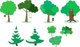 Grupo de árvores e de arbustos Imagem de Stock