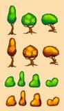 Grupo de árvores e de arbustos do vetor Fotos de Stock Royalty Free