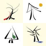 Grupo de árvores estilizados do ícone fotos de stock