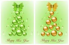 Grupo de árvores de Natal abstratas das bolas e das curvas ilustração royalty free