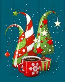 Grupo de árvores de Natal e de copo de café abstratos, motriz do feriado, ilustração Fotos de Stock