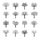 Grupo de árvores pretas do vetor Ilustração do vetor Fotografia de Stock Royalty Free