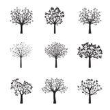 Grupo de árvores pretas do vetor Ilustração do vetor Foto de Stock
