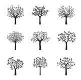 Grupo de árvores pretas do vetor Ilustração do vetor Fotografia de Stock