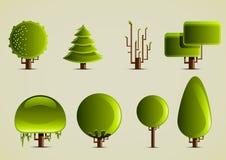 Grupo de árvores verdes para criar jogos de vídeo Ilustração Stock