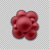 Grupo de átomos que forman la molécula Las bacterias del estafilococo se cierran para arriba Aislado en fondo transparente Ilustr stock de ilustración