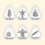 Grupo de ícone com linha ornamento Coleção do Natal Imagens de Stock Royalty Free