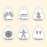 Grupo de ícone com linha ornamento Coleção do Natal Fotografia de Stock Royalty Free