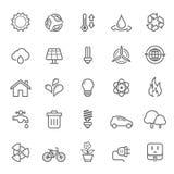 Grupo de ícone da ecologia do curso do esboço ilustração stock