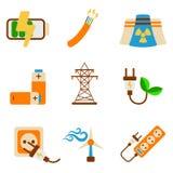 Grupo de ícone da energia Etiqueta da energia para a Web no fundo branco Fl ilustração do vetor