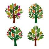 Grupo de ícone das árvores da cor Ilustração do vetor Imagem de Stock