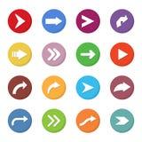Grupo de ícone das setas em um projeto liso Fotografia de Stock