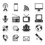 Grupo de ícone de dezesseis comunicações Fotos de Stock Royalty Free