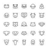 Grupo de ícone do animal do curso do esboço Fotografia de Stock