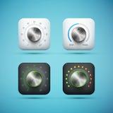 Grupo de ícone do app com o botão de controle do volume da música Imagem de Stock
