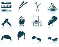 Grupo de ícone do cabeleireiro Imagens de Stock