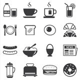 Grupo de ícone do café da manhã Imagens de Stock