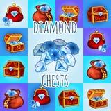 Grupo de ícone do diamante, caixa, saco com pedra preciosa Imagens de Stock