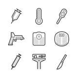 Grupo de ícone do dispositivo médico Foto de Stock Royalty Free