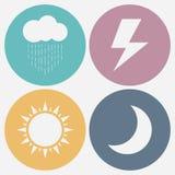 Grupo de ícone do tempo - lua, sol, chuva, relâmpago Ilustração do vetor ilustração stock