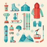 Grupo de ícone dos esportes de inverno Fotografia de Stock Royalty Free