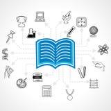 Grupo de ícone educacional em torno do bulbo do livro Foto de Stock