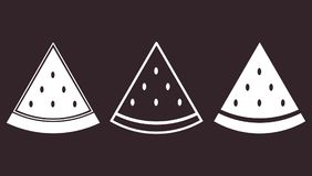 Grupo de ícone liso da melancia da parte Foto de Stock