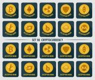 Grupo de ícone liso do cryptocurrency da moeda 10 ilustração do vetor