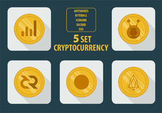 Grupo de ícone liso do estilo do cryptocurrency cinco diferente em um fundo branco ilustração royalty free