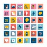 Grupo de ícone longo das sombras do moder colorido Imagens de Stock