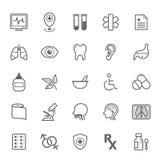 Grupo de ícone médico do curso do esboço Imagem de Stock