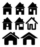 Grupo de ícone preto da casa da Web, símbolo Ilustração do vetor no fundo branco Foto de Stock