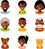 Grupo de ícones étnicos afro-americanos dos avatars dos membros da família no estilo liso Fotos de Stock Royalty Free