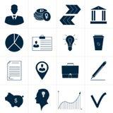 Grupo de ícones abstratos azuis do negócio ilustração royalty free
