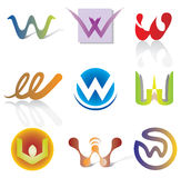 Grupo de 9 ícones abstratos da letra de W - elementos decorativos Fotografia de Stock