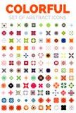 Grupo de ícones abstratos geométricos coloridos do vetor ilustração do vetor