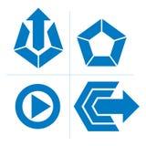 Grupo de ícones abstratos, sinal do jogo, seta especial Impulso do vetor mas Foto de Stock Royalty Free