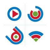 Grupo de ícones abstratos, sinal do jogo teclas do vetor 3d, multim Fotografia de Stock
