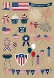 Grupo de ícones adiante de julho Imagens de Stock
