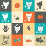 Grupo de ícones animais coloridos Fotos de Stock Royalty Free