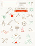 Grupo de ícones, artigos, estilo do moderno dos crachás Imagens de Stock