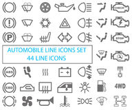 Grupo de ícones automotivos Tiragem em um fundo branco ilustração do vetor