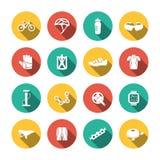 Grupo de ícones Biking Fotografia de Stock