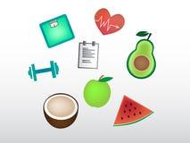 Grupo de ícones bonitos da aptidão do fruto e das coisas da aptidão Imagens de Stock