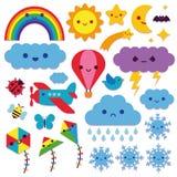 Grupo de ícones bonitos do céu isolados Foto de Stock