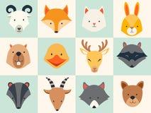 Grupo de ícones bonitos dos animais Foto de Stock Royalty Free
