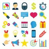 Grupo de ícones brilhantes do negócio ilustração royalty free