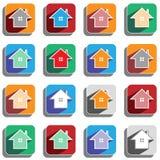 Grupo de ícones coloridos da casa Fotos de Stock Royalty Free