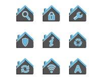 Grupo de ícones coloridos da casa Foto de Stock Royalty Free
